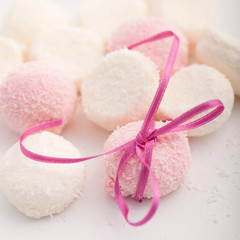 Pink and white marshmallows with coconut