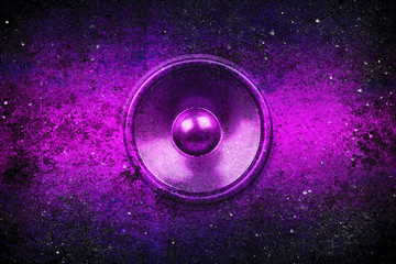 Purple grunge music speaker