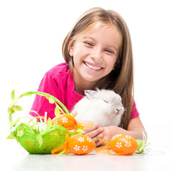 little cute girl and rabbit