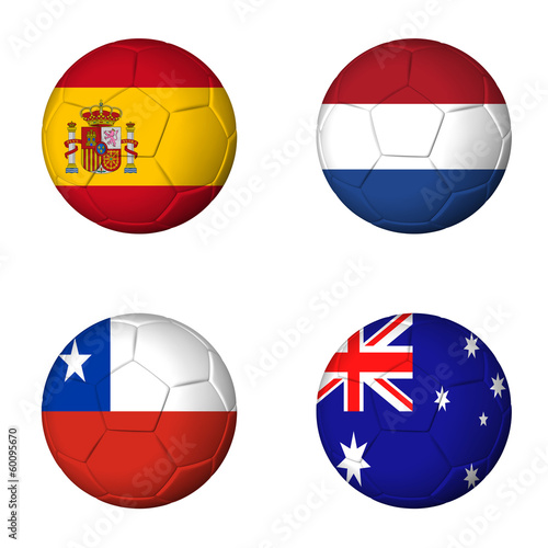 Soccer world cup 2014 group B flags on soccerballs