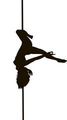 Pole dancer woman vector silhouette