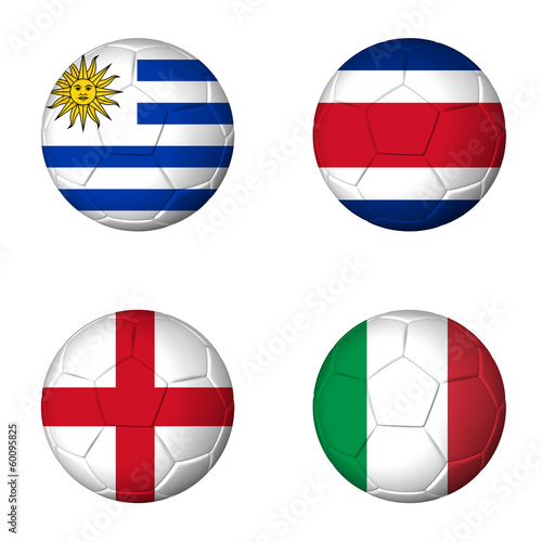 Soccer world cup 2014 group D flags on soccerballs