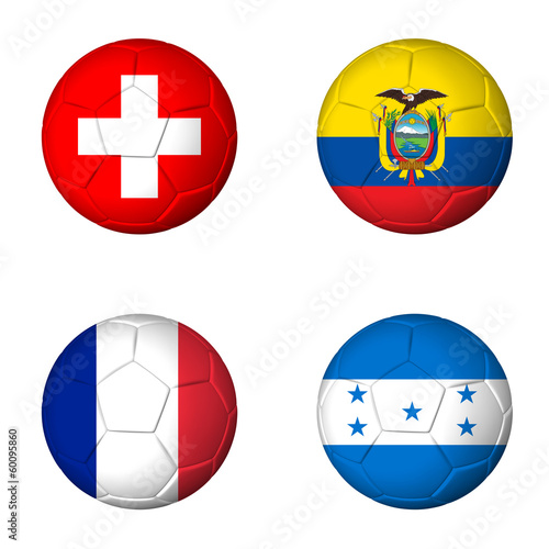 Soccer world cup 2014 group E flags on soccerballs