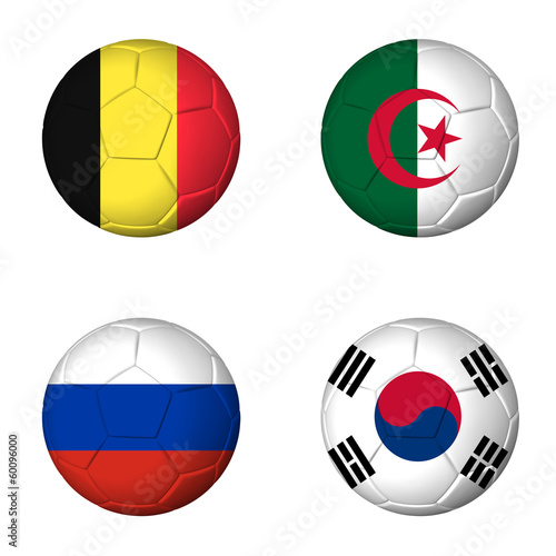 Soccer world cup 2014 group H flags on soccerballs