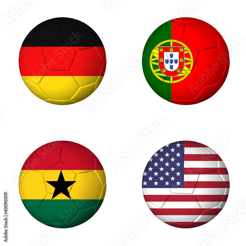 Soccer world cup 2014 group G flags on soccerballs