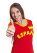Woman from Spain showing thumb up