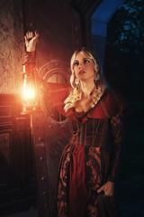 Lady explores old castle