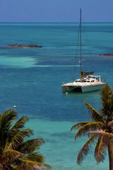 costline boat catamaran in the  blue lagoon relax   isla contoy