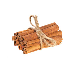 related cinnamon sticks on white background