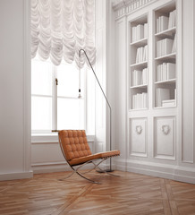 Luxury old vintage with classic chair and old wood floor