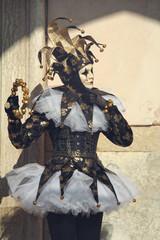 Dark elegant joker posing in San Marco square