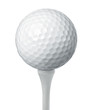 Close up of a golf ball on a tee isolated on white background
