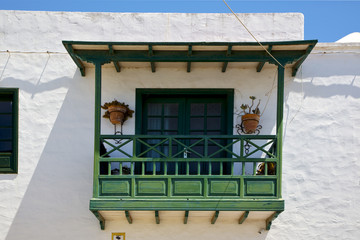 old wall and terrace in the   center   of city arrecife lanzarot