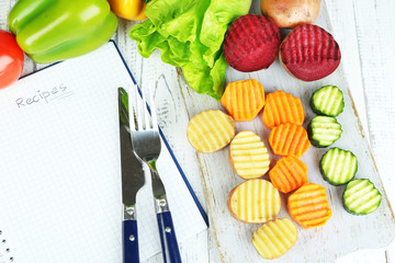Beautiful sliced vegetables,