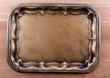 Vintage tray, on wooden background