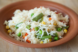 rice and vegetables with shallow depth of field