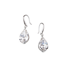 Pair of diamond earrings, isolated on white
