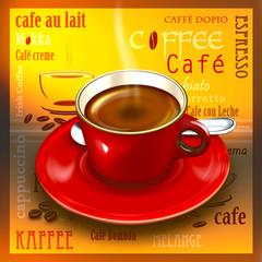 Tasse Kaffee mit Dekoration