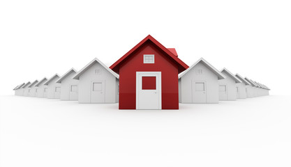 Red house leader icon concept isolated on white