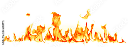 Aluminium Vuur / Vlam Fire flames isolated on white background
