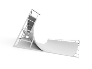 Skateboard ramp rendered and isolated