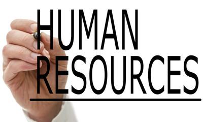 Man writing Human Resources on a virtual screen