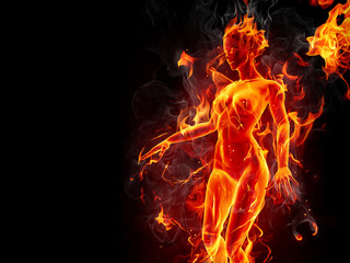 Dancing fire girl