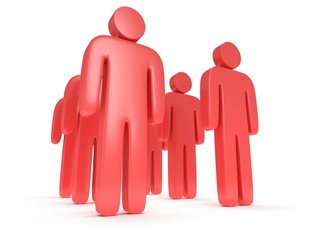 Group of stylized red people stand on white