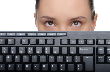 Young woman with a computer keyboard