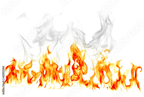 Fire and smoke isolated on white background