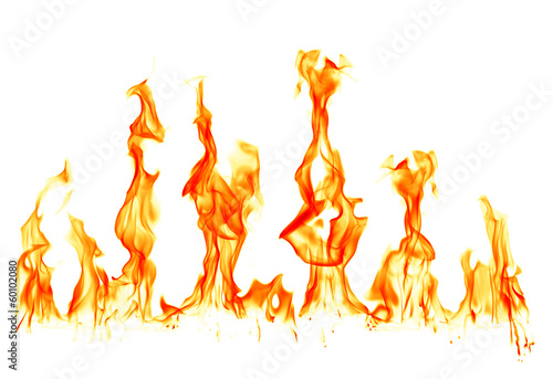 Leinwandbild Motiv Fire flames isolated on white background