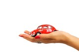 Red classic car in beautiful woman hand
