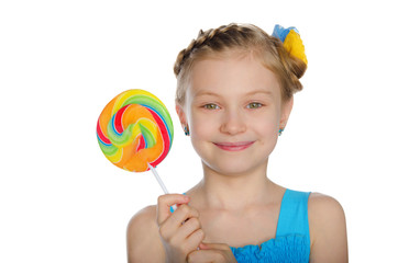 Girl with bow and candy