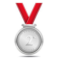 Silver Medal 2nd Position Vector Icon