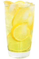 Lemonade with ice cubes and sliced lemon