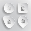 Diagram. White flat vector buttons on gray background.