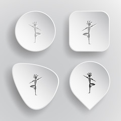 Ethnic little man as yogi. White flat vector buttons on gray bac