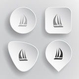 Yacht. White flat vector buttons on gray background.