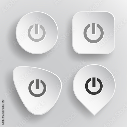Switch element. White flat vector buttons on gray background.