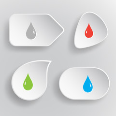 Drop. White flat vector buttons on gray background.