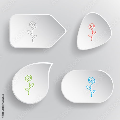 Abstract rose. White flat vector buttons on gray background.
