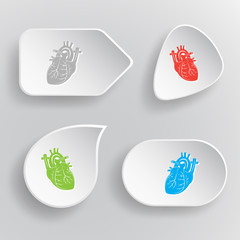 Heart. White flat vector buttons on gray background.