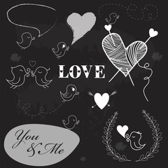 Set of romantic Valentine's Day