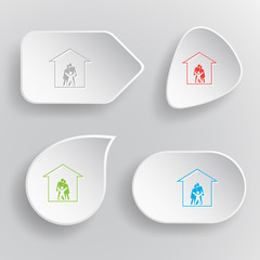 Family. White flat vector buttons on gray background.
