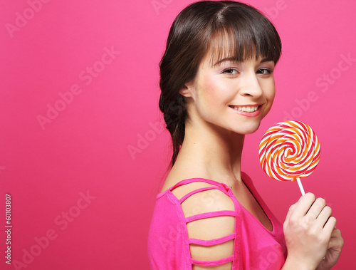 pretty woman with lollipop