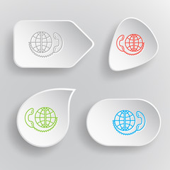 Global communication. White flat vector buttons on gray backgrou