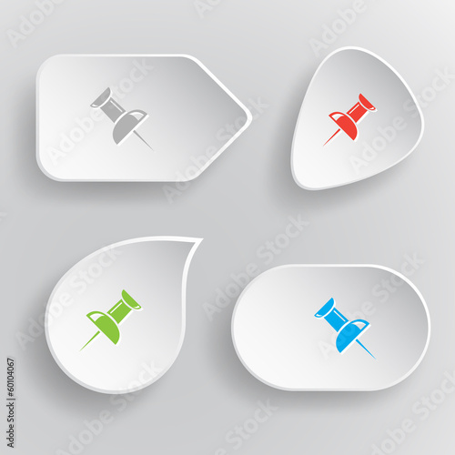 Push pin. White flat vector buttons on gray background.