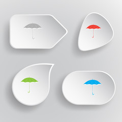 Umbrella. White flat vector buttons on gray background.