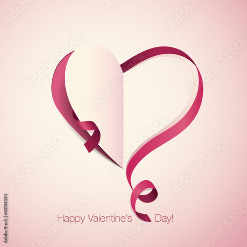 Valentine's Day card with ribbon