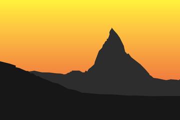 Matterhorn silhouette sunset vector